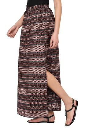 Womens Printed Slitted Long Skirt