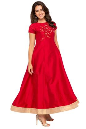 Womens Round Neck Embroidered Gown