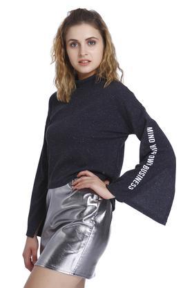 Womens High Neck Printed Sweatshirt