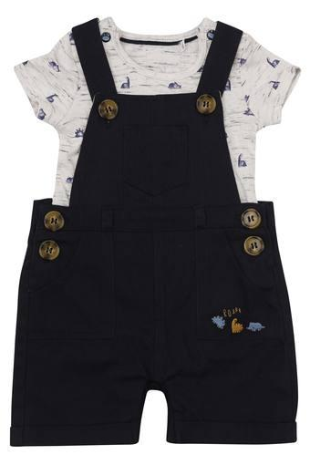 Kids Round Neck Solid Dungarees with Tee