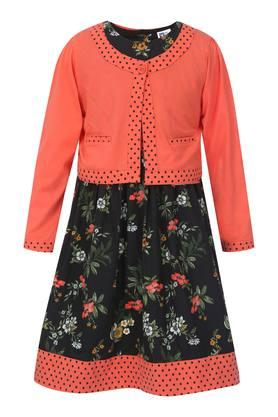 Girls Round Neck Floral Print Flared Dress with Jacket