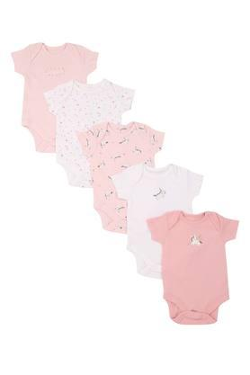 Girls Envelope Neck Printed Babysuit - Pack Of 5