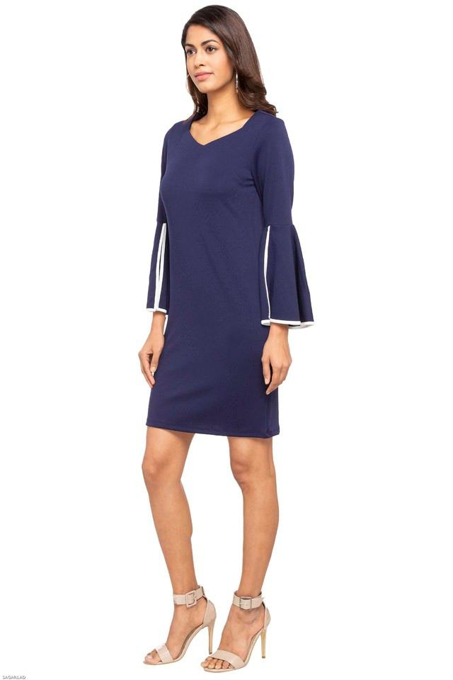 Womens Square Neck Solid Shift Dress