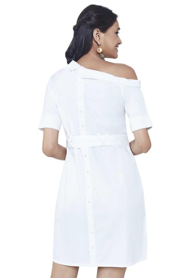 Womens One Shoulder Neck Printed Shift Dress