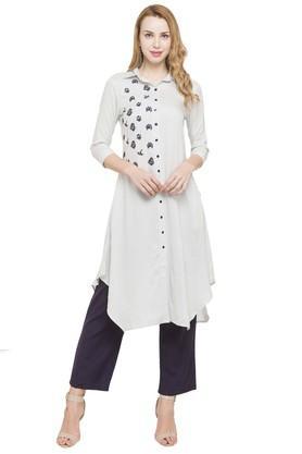 IMARAWomens Embroidered Kurta And Solid Pants