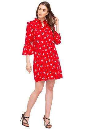 Womens Ruffled Collar Floral Print A-Line Dress