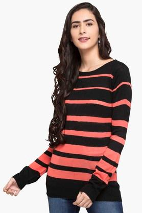 FEMINA FLAUNT Womens Round Neck Stripe Sweater - 203448395