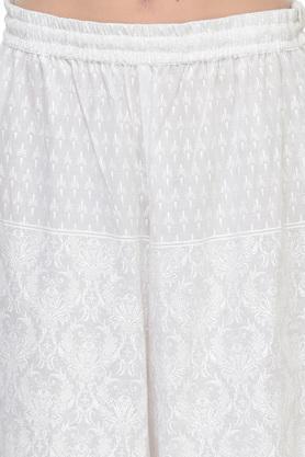 Womens Mandarin Collar Floral Printed Kurta and Palazzo Set