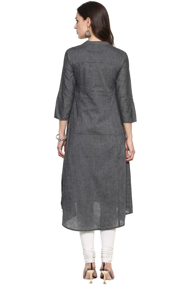 Womens Mandarin Collar Textured Kurta