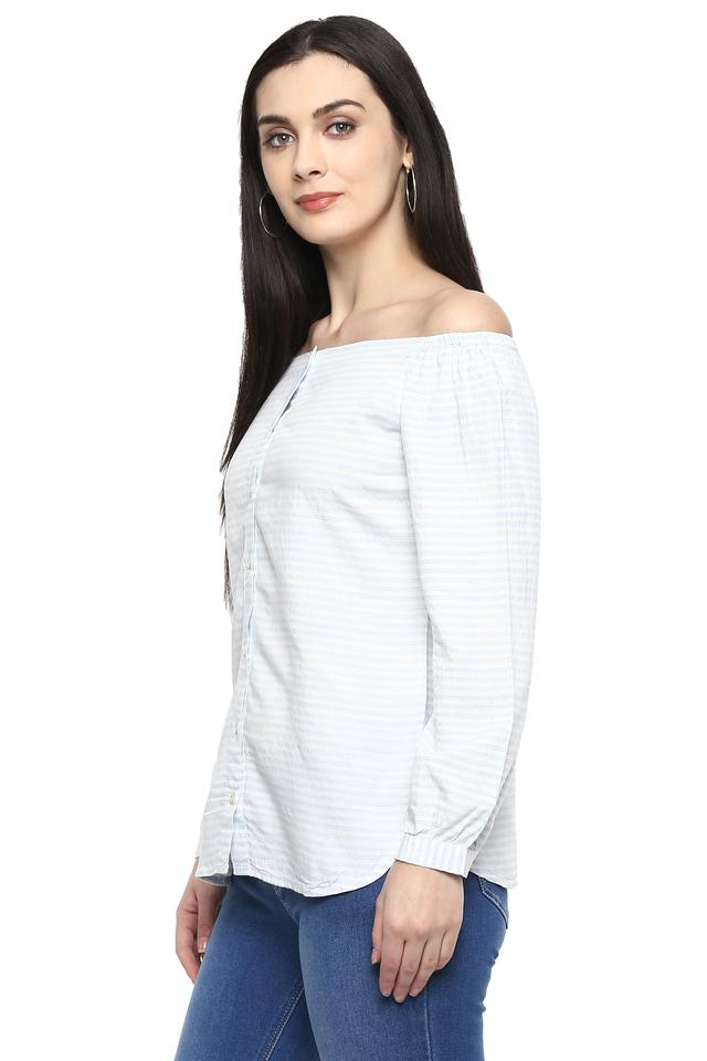 Womens Off Shoulder Neck Striped Shirt