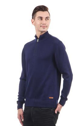 Mens Zip Through Slub Sweater