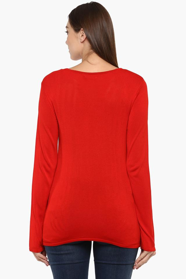 Womens Round Neck Knitted Pattern Top