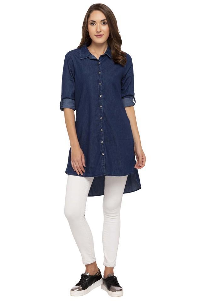 Womens Collared Assorted Long Shirt