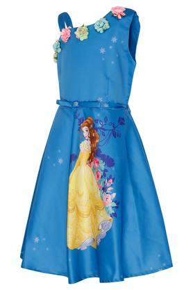 Girls One Shoulder Applique A-Line Dress With Belt