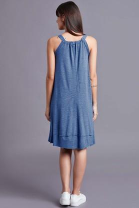 Womens V-Neck slub Knee Length Dress