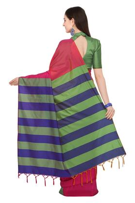Womens Colour Block Saree with Blouse Piece