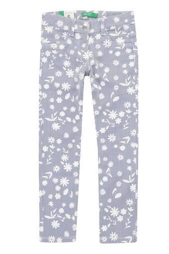 Girls 4 Pocket Floral Print Jeans