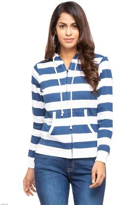 Womens Hooded Stripe Sweatshirt