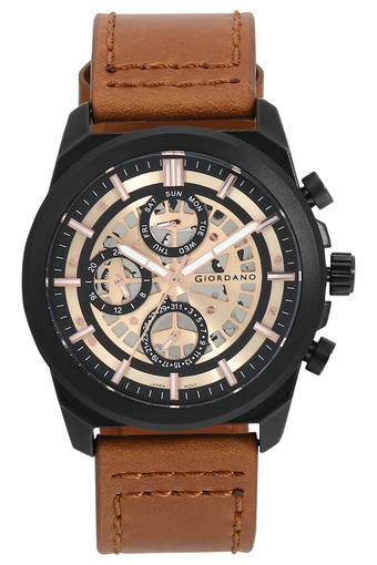 Mens Rose Gold Dial Leather Multi-Function Watch - R1214-03