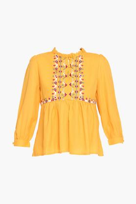 Womens Ruffled Collar Solid Embroidered Tunic