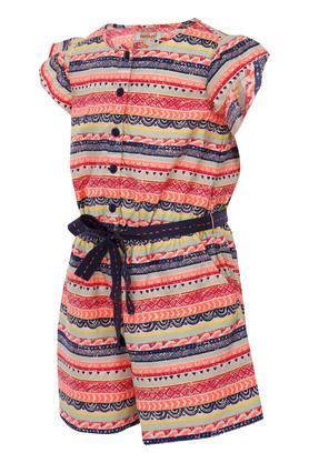 Girls Round Neck Aztec Jumpsuit