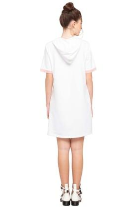 Womens Hooded Solid T-Shirt Dress