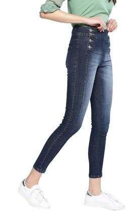 Womens 2 Pocket Whiskered Effect Jeans