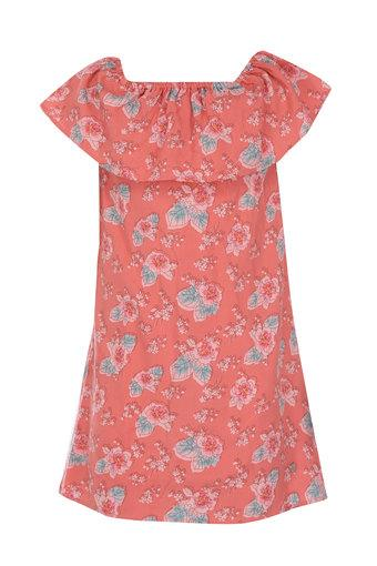 081e302241 Girls Square Neck Floral Print A-Line Dress