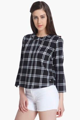 Womens Collared Check Top