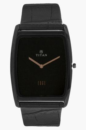 TITANMens Black Dial Leather Watch - NH1596NL01