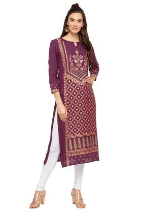 GLOBAL DESI Womens Key Hole Neck Printed Kurta