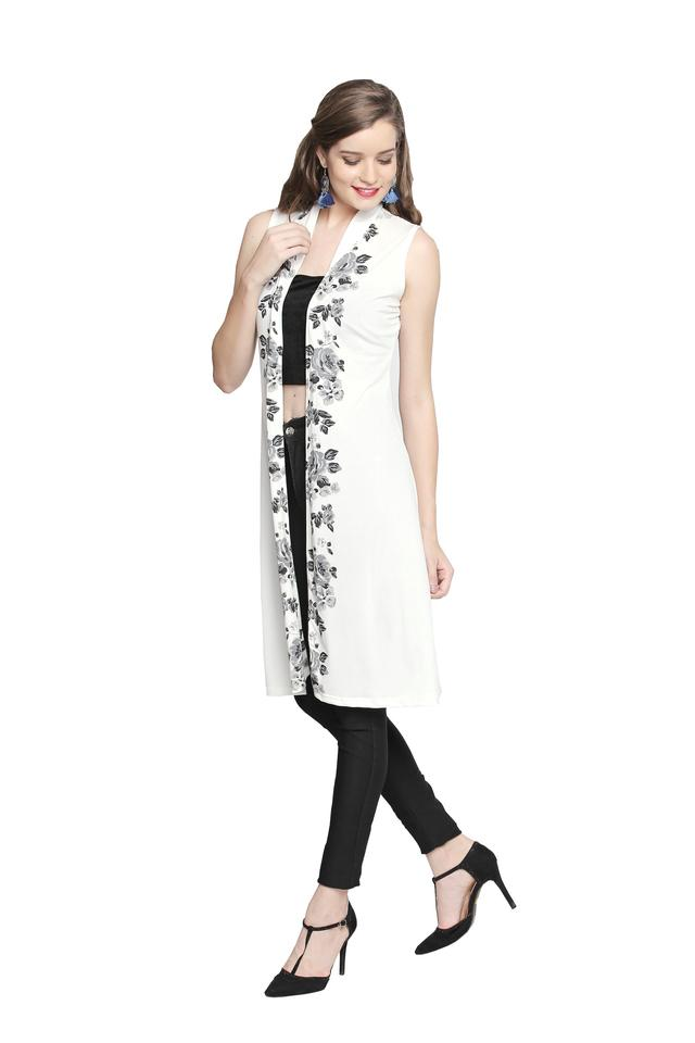 Womens Open Front Printed Long Shrug