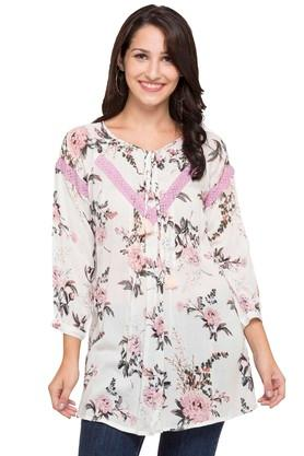 SANAA Womens Tie Up Neck Floral Print Kurta