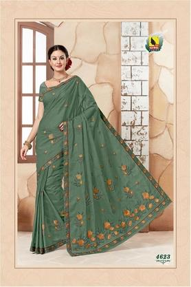 ASHIKA Womens Embroidered Saree With Blouse Piece - 204576971_8398