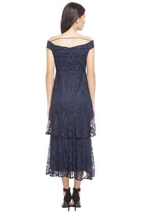 Womens Off Shoulder Lace Maxi Dress