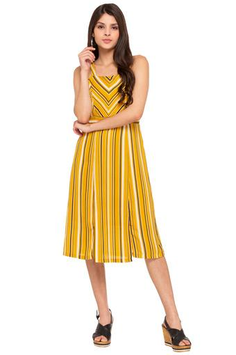 Womens Square Neck Striped A-Line Dress