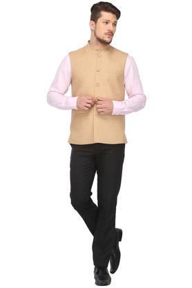 Mens Mandarin Neck Slub Nehru Jacket