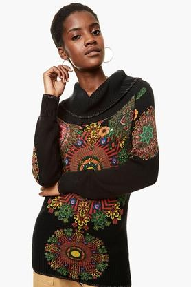 DESIGUAL Womens Turtle Neck Printed Knitted Pullover