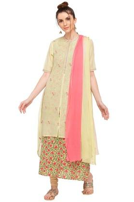 Womens Band Neck Printed Churidar Suit