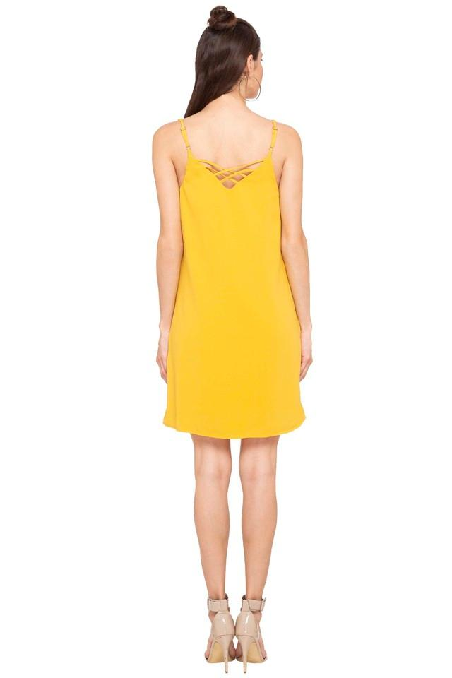 Womens Spaghetti Neck Solid A-Line Dress