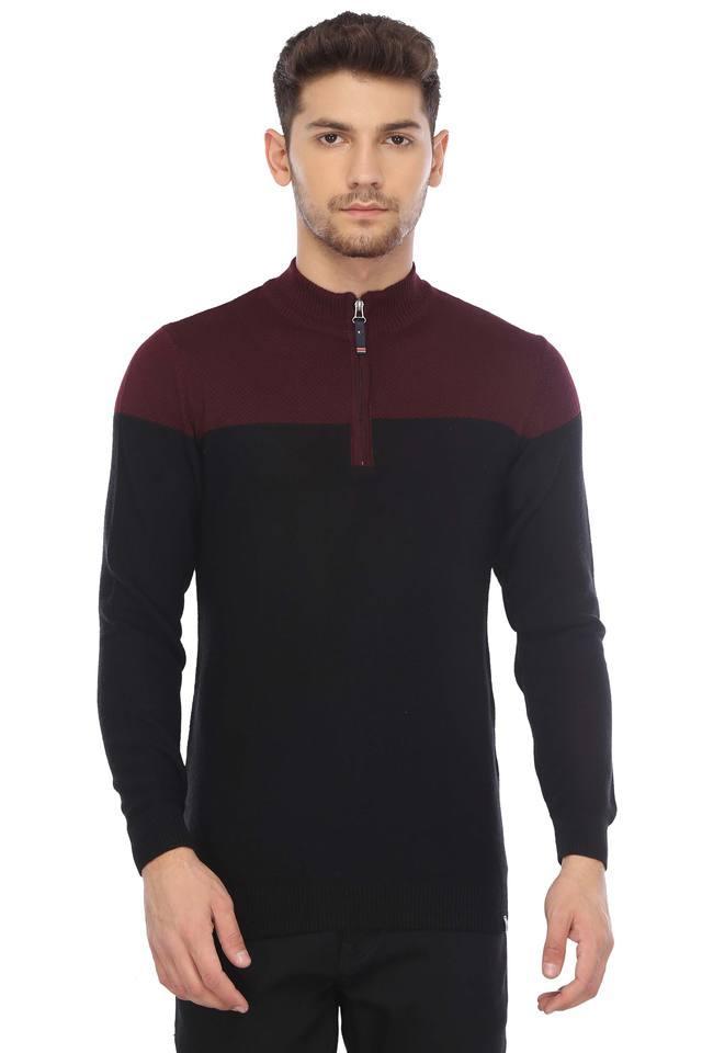 Mens Zip Through Neck Solid Sweater