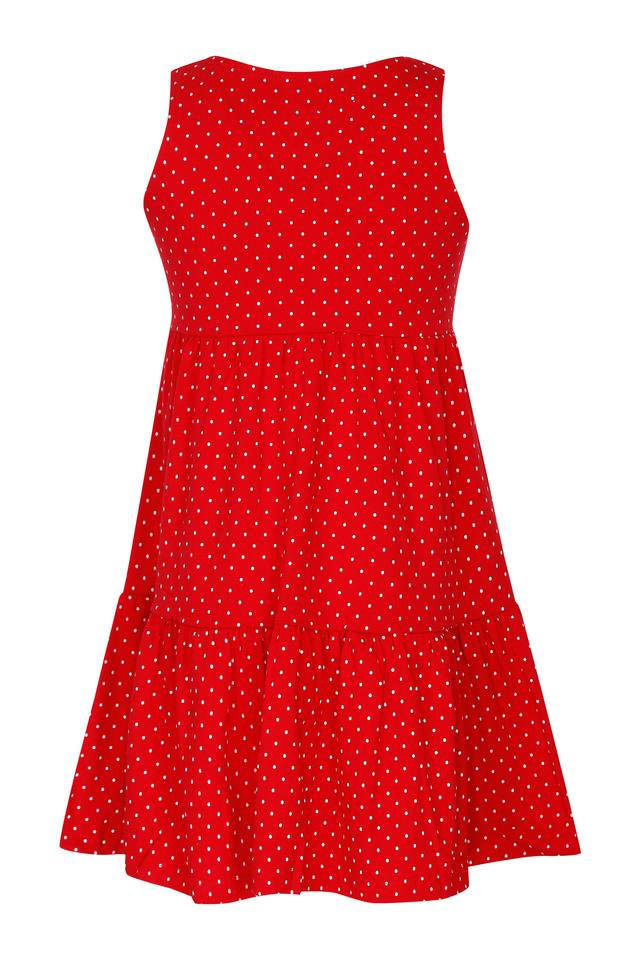 Girls Round Neck Dot Pattern A-Line Dress