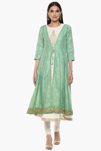 6329e24f28313f Buy IMARA Womens Round Neck Printed Kurta Shrug and Churidar Set | Shoppers  Stop