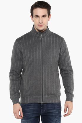 WILLS LIFESTYLEMens Zip Through Neck Stripe Sweatshirt