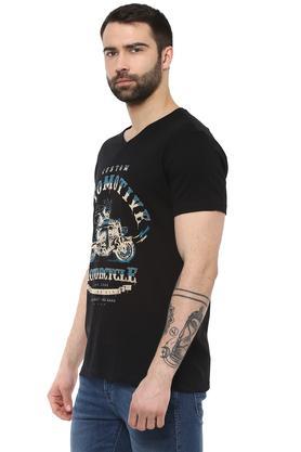 Mens V Neck Graphic Print T-Shirt