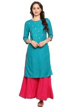 JUNIPER Womens Zari Embellished Kurta With Palazzo