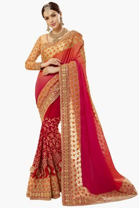 DEMARCA Womens Faux Georgette Satin Net Embroidered Saree