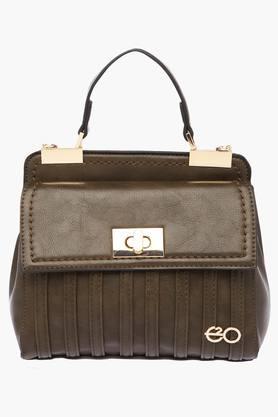 E2OWomens Metallic Lock Closure Satchel Handbag