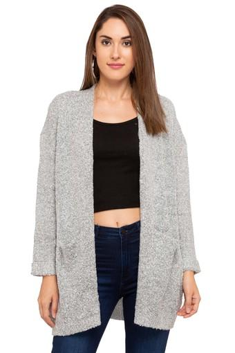 Womens Open Front Slub Long Jacket