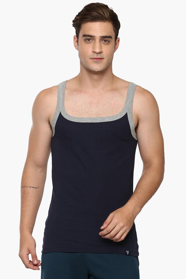 Mens Square Neck Solid Vest